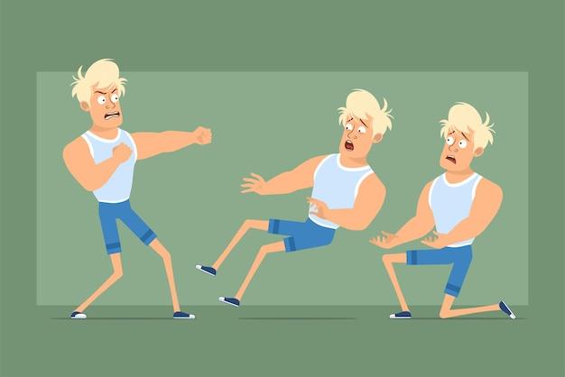 Cartoon flache lustige starke blonde sportlerfigur in unterhemd und shorts. junge kämpft, fällt zurück und steht auf dem knie. bereit für animation. auf grünem hintergrund isoliert. einstellen.