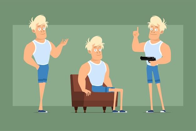 Cartoon flache lustige starke blonde sportlerfigur in unterhemd und shorts. junge posiert, ruht und hält pistole. bereit für animation. auf grünem hintergrund isoliert. einstellen.