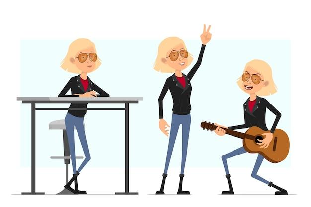 Cartoon flache lustige süße blonde rock'n'roll-mädchen charakter in lederjacke. blondes mädchen, das auf gitarre spielt und friedenszeichen zeigt.