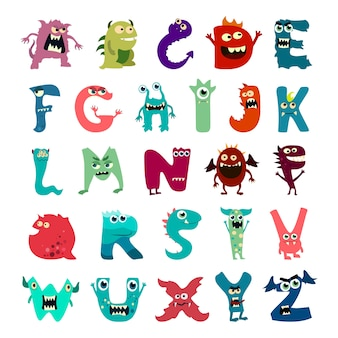 Cartoon flache monster alphabet großen satz