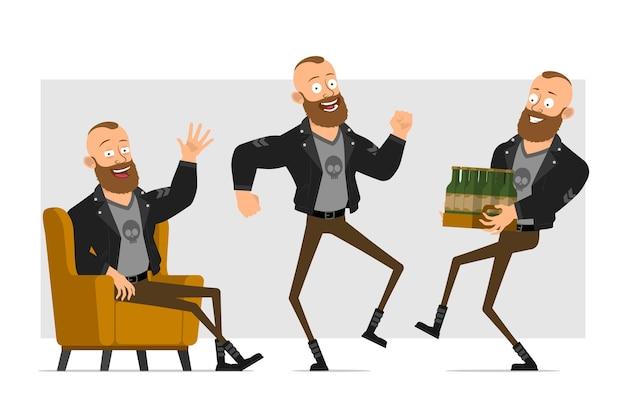 Cartoon flacher starker charakter bärtiger punkmann mit mohawk in lederjacke. junge ruht sich aus, springt, tanzt und trägt viel bier.