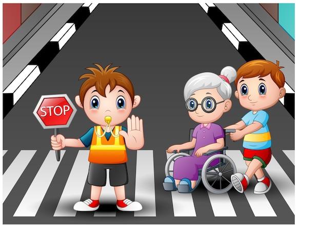 Cartoon flagger und junge hilft oma im rollstuhl