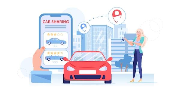 Cartoon flat charakter nutzen carsharing-service