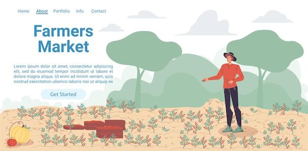 Cartoon flat farmer charakter wächst pflanzungen