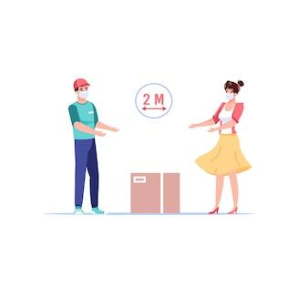 Cartoon flat kundencharakter nimmt online-bestellung vom lieferboten entgegen