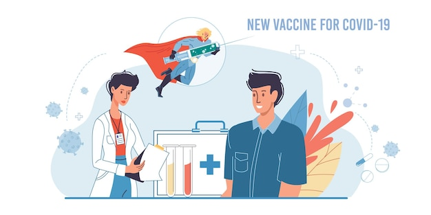 Cartoon flat superheld charakter trägt coronavirus-impfstoff