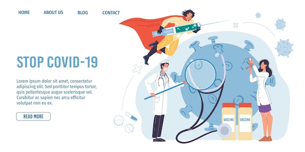 Cartoon flat superheld charakter trägt coronavirus impfstoffspritze