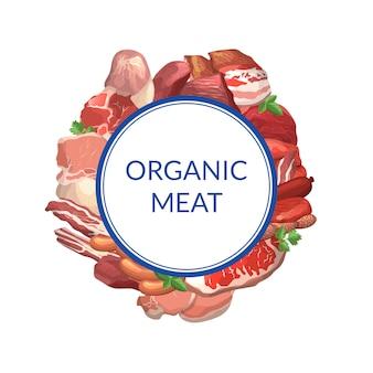 Cartoon fleischstücke unter kreis mit platz für text illustration. fleischrahmen isoliert
