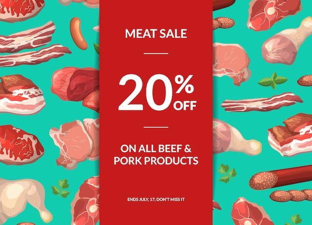 Cartoon fleischstücke verkauf banner illustration mit platz für text und band mit schatten
