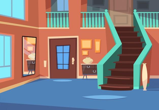 Cartoon flur. hauseingangsinnenraum mit treppe und spiegel.