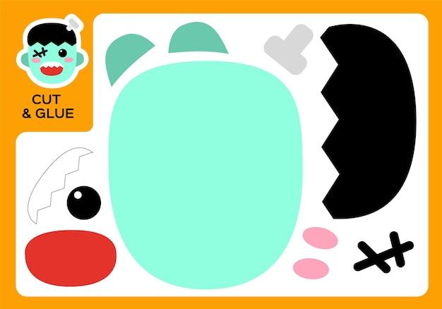 Cartoon frankenstein ausschneiden und kleben. diy-monster-projekt. arbeitsblatt für kinder. aktivitätsseite. bildung kinder. fröhliches halloween-spiel. super motorische fähigkeiten. papierbastelspiel für kinder.