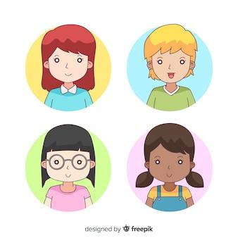 Cartoon frau avatar pack