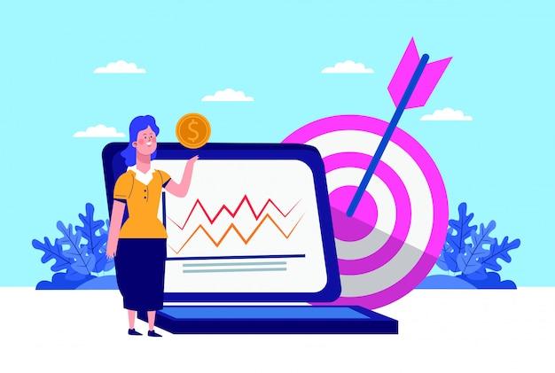 Cartoon frau, laptop-computer und ziel am blauen himmel