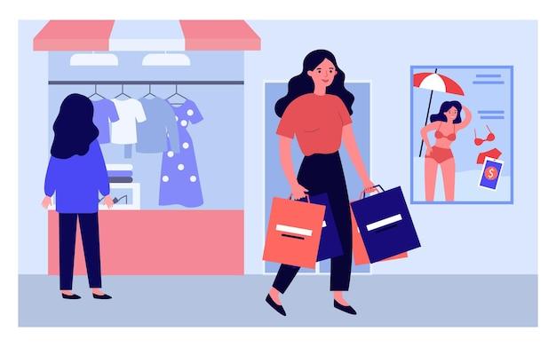 Cartoon-frau mit einkaufstüten zu fuß in der straße. rückseite des mädchens, das kleidung hinter flacher vektorillustration des schaufensters betrachtet. shopping, mode, verkaufskonzept für banner oder landing-webseite