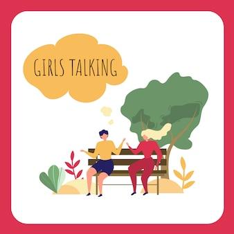Cartoon frau sitzen auf der parkbank. mädchen, die draußen sprechen