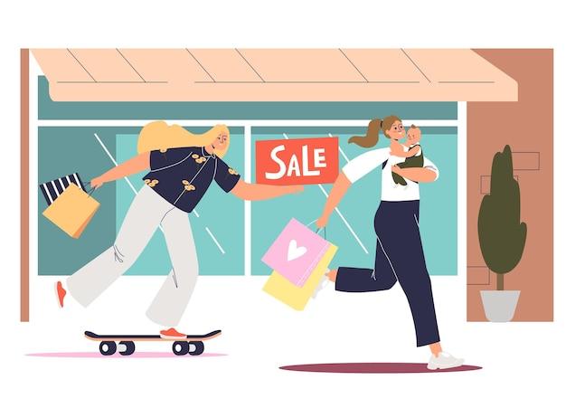 Cartoon-frauen beeilen sich zum einkaufen bei saisonalen verkäufen