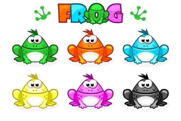 Cartoon frösche. verschiedene farbige kröten