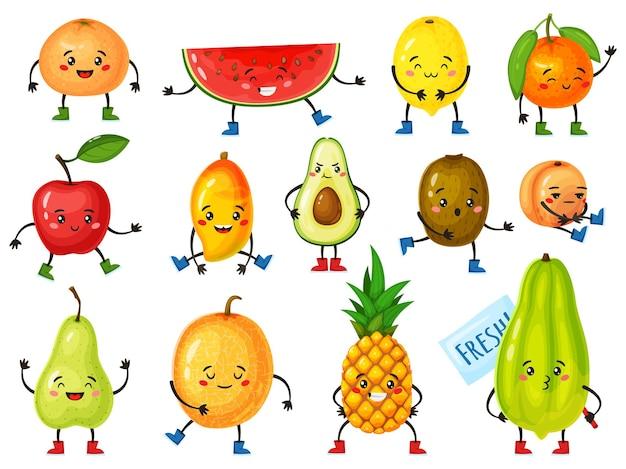 Cartoon-fruchtfiguren lustige orange ananas-apfel-avocado-zitrone mit niedlichen gesichtern