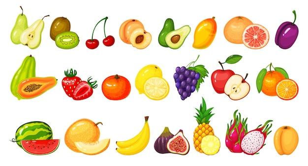 Cartoon fruchtscheiben kiwi drachenfrucht granatapfel pfirsich apfel traube mango zitrone orange set