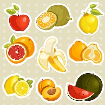 Cartoon früchte aufkleber