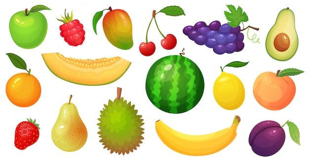 Cartoon früchte. mangofrucht, melonenscheibe und tropische banane. himbeerbeeren, wassermelone und apfelillustrationssatz