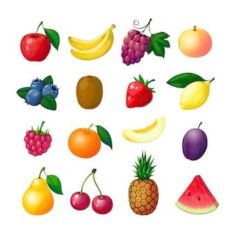 Cartoon früchte und beeren. apfel banane traube pfirsich heidelbeere kiwi zitrone erdbeere himbeere melone pflaume birne ananas set