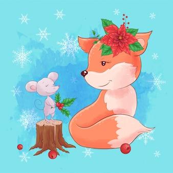 Cartoon fuchs mit maus und einen strauß weihnachtsstern.