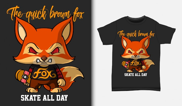 Cartoon fuchs mit skateboard, mit t-shirt design, hand gezeichnet