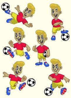 Cartoon-fußballspieler-cartoon-set