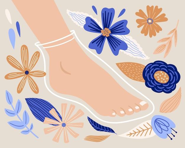 Cartoon fußmaskensocke mit natürlichen floralen inhaltsstoffen schönheitssalon und pediküre spa