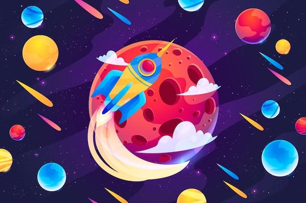 Cartoon-galaxie mit sternenhintergrund
