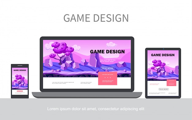 Cartoon game design ui web-vorlage mit fantasy-landschaft bäume steine adaptiv für mobile laptop-tablet-bildschirme isoliert