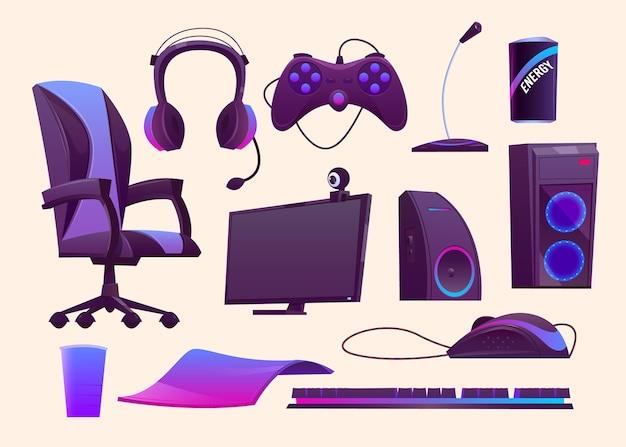 Cartoon game streamer konzept elemente sammlung