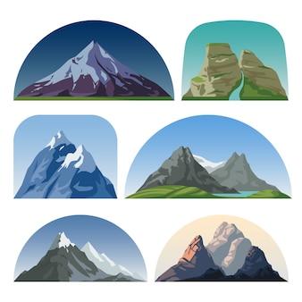 Cartoon-gebirgsseitenvektorlandschaften. im freien hügelkuppen isoliert sammlung. berglandschaftshügelspitze, felsen- und schneeillustration