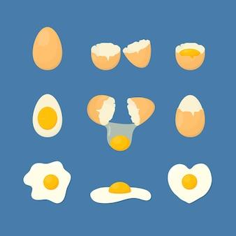 Cartoon gebratene und frische eier stellen gesunde ernährung zum frühstück ein.