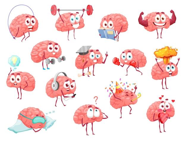 Cartoon-gehirn-charaktere, brainstorm, gesundheit, sport und freizeit-vektor-set. süßes maskottchen mit lustigem gesicht, das mit langhantel trainiert, hat eine tolle idee, hält herz. fröhliche emotionen, spaß isoliertes set