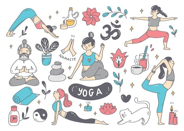 Cartoon-gekritzel der frau, die yoga in verschiedenen posen tut