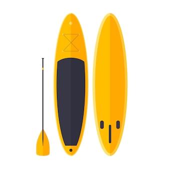Cartoon gelber surfer mit paddel. sup zum skaten auf meereswellen.