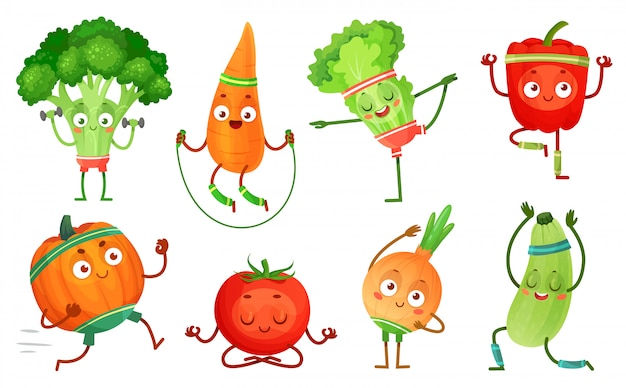Cartoon gemüse fitness. gemüse charaktere training, gesunde yoga-übungen essen und sportgemüse illustration set