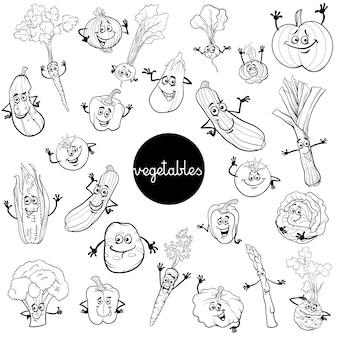 Cartoon-gemüse-zeichen setzen farbbuch