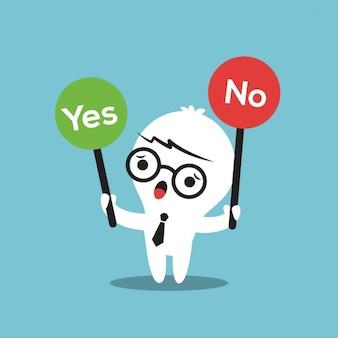 Cartoon geschäftsmann mit einem ja oder nein zeichen