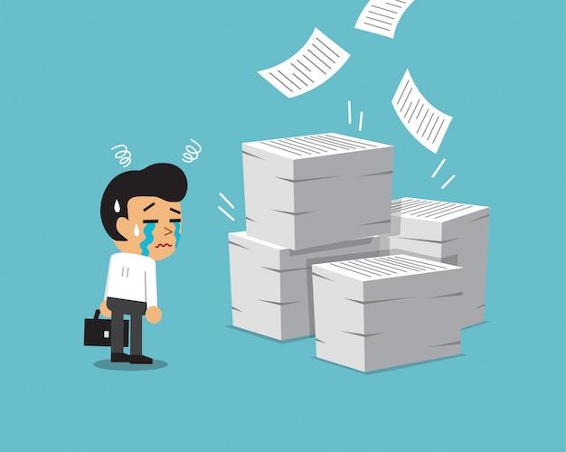 Cartoon geschäftsmann mit viel papierkram
