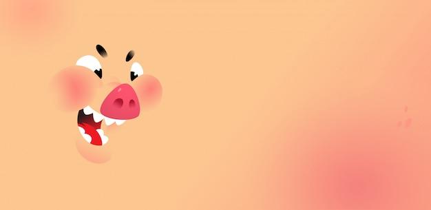 Cartoon gesicht eines schweins. hintergrund für text und design.