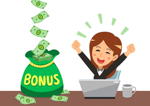 Cartoon glückliche geschäftsfrau mit großem bonusgeldbeutel