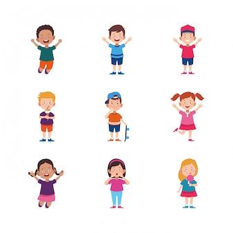 Cartoon glückliche kinder icon set