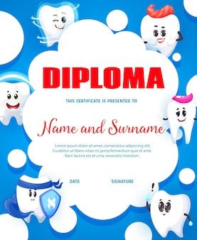 Cartoon glückliche zahnfiguren, zahnpflege-service-kinder vertikales diplom. zahnarzt- oder zahnklinik-kindervektordiplom, kinderleistungszertifikat mit lächelnden gesunden jungen- und mädchenzähnen