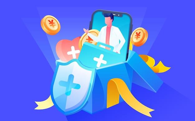Cartoon glücksbeutel promotion lotterie internet finanzeinkommen vermögensverwaltung illustration