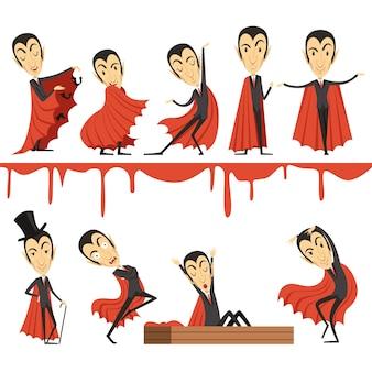 Cartoon graf dracula trägt roten umhangsatz.