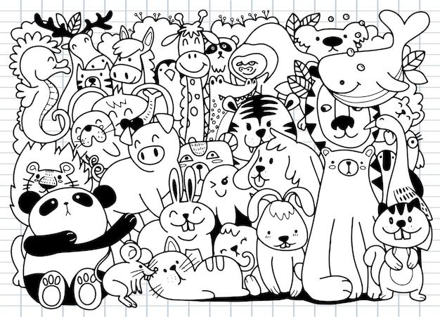 Cartoon großer satz von niedlichen gekritzel-tieren. perfekt für postkarte geburtstag babybuch kinderzimmer, illustration für malbuch, jeweils auf einer separaten ebene.