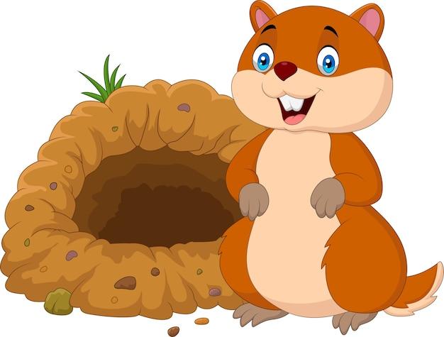 Cartoon groundhog vor seinem loch